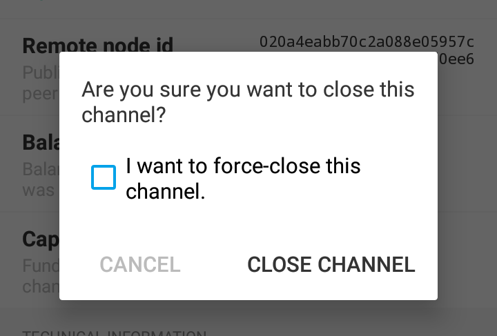Closing a channel in Eclair