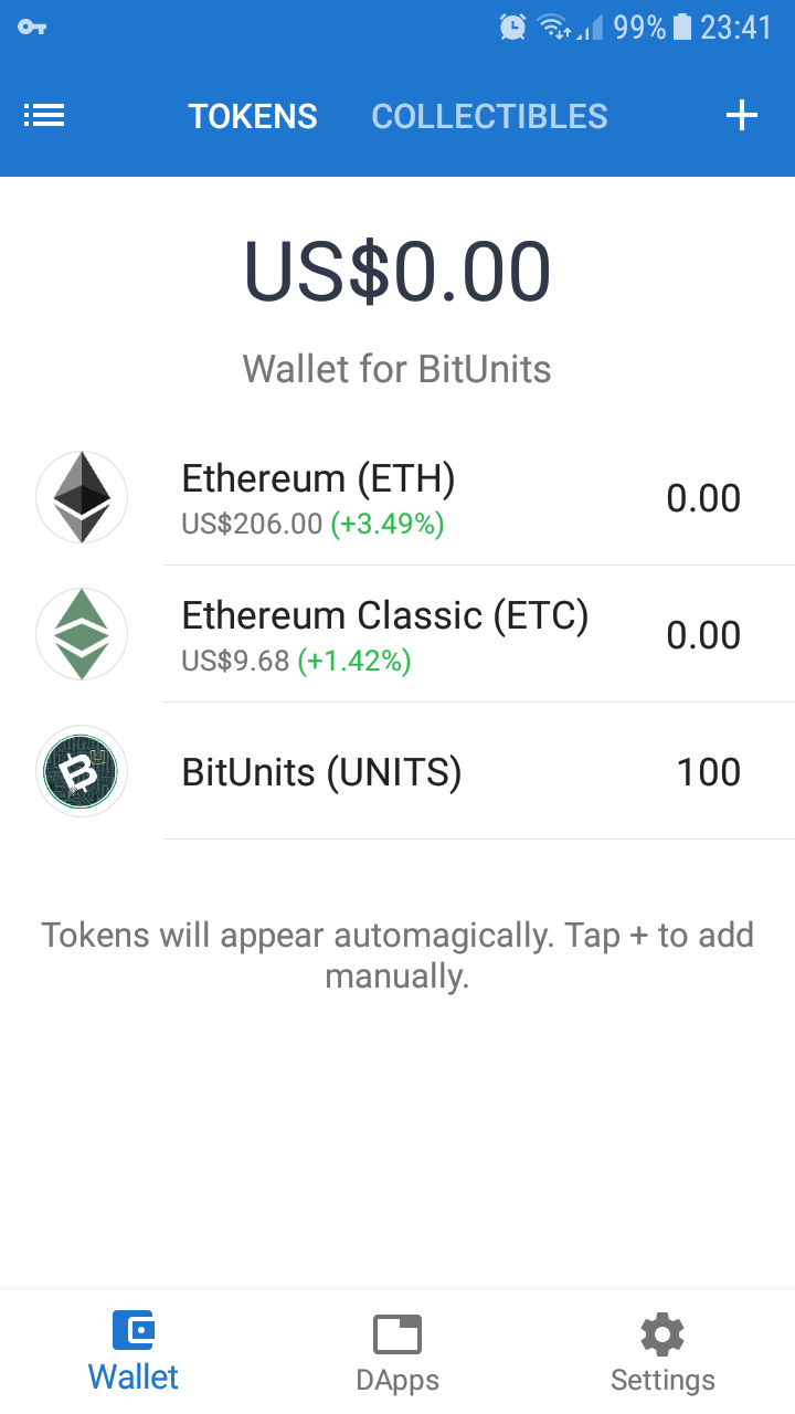 Trust digital wallet after it is configured for BitUnits