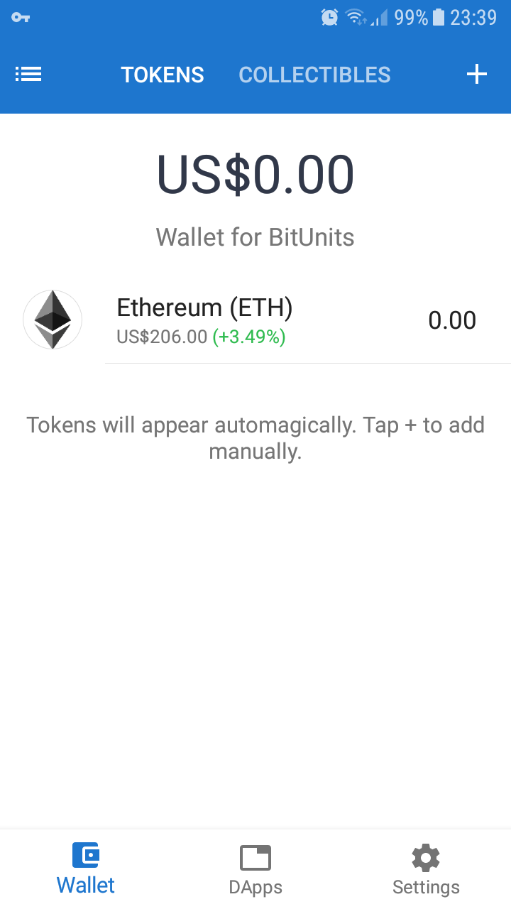 Trust digital wallet before it is configured for BitUnits