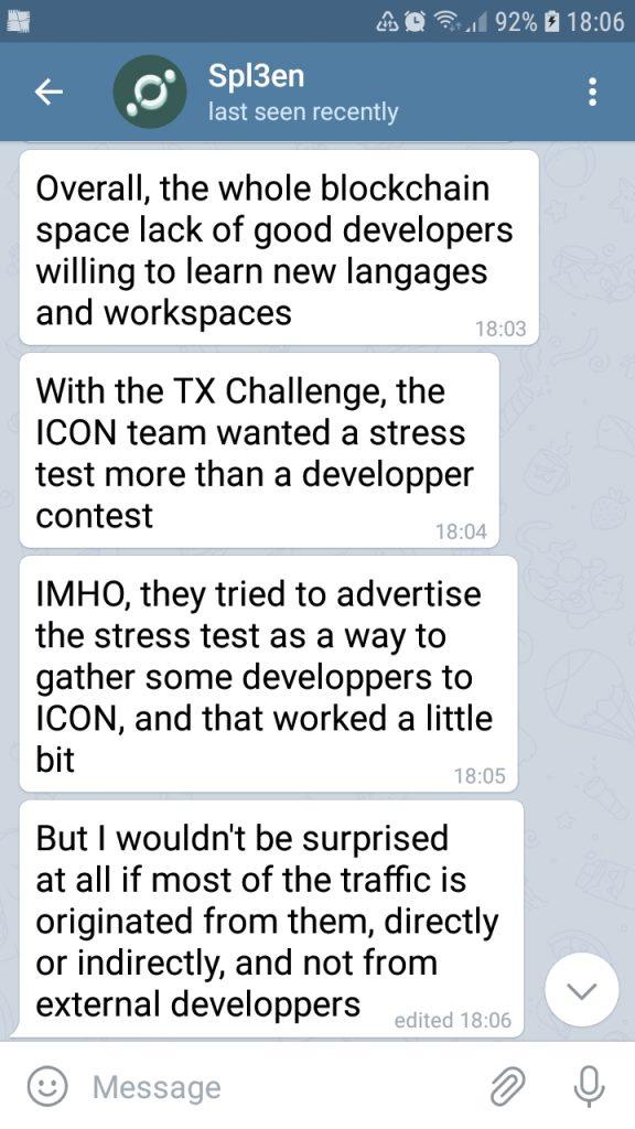 Spl3en comments in a Telegram chat session.